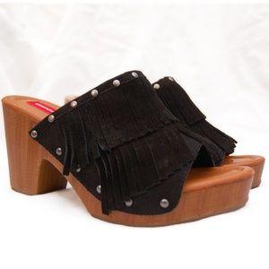UNIONBAY Shoes - UNIONBAY Black Suede Fringe Clogs Retro 90s NWOT